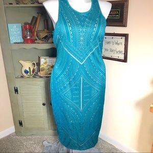 XXL Teal Cut out Patterned Lined Sleeveless Maxi